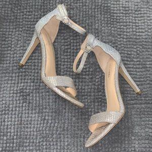 Michael Kors Silver Samantha Ankle Sandals Heels